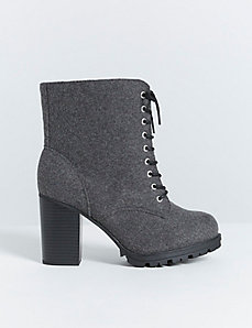 Faux Wool Lace-Up Boot