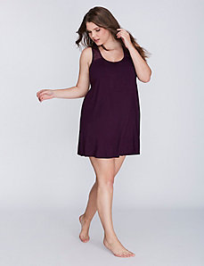 Lace Illusion Sleep Tunic with Shelf Bra