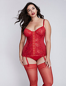 Metallic Lace Corset with Balconette Bra