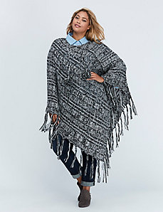 Knit Poncho with Pom Poms