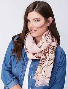 Metallic Painted Paisley Scarf