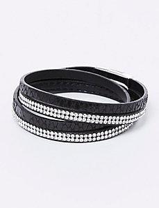 Textured Faux Wrap Bracelet with CZs