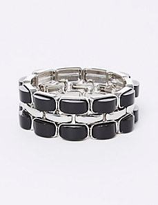 Black & Silvertone Stretch Bracelet