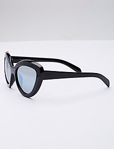 Cateye Sunglasses with Mirrored Lens
