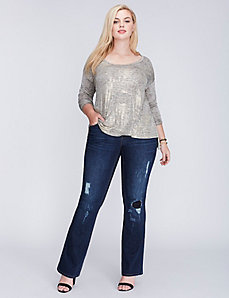 Drop-Shoulder Shimmer Top