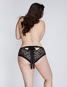 Lace Cheeky Panty with Split Gusset & Ribbon
