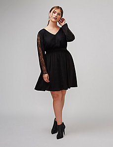 Fit & Flare Dress with Lace