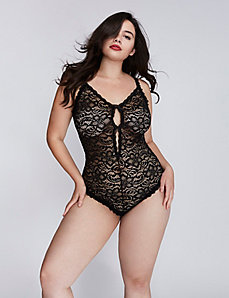 All-Over Lace Split Gusset Bodysuit