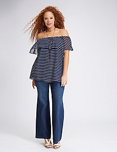 Off-the-Shoulder Striped Ruffle Top