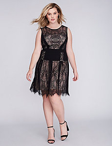 Mixed Lace Fit & Flare Dress by Julia Jordan