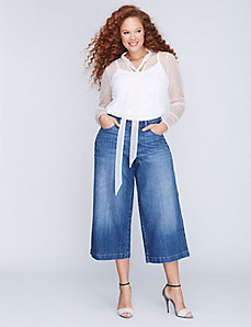 Wide Leg Denim Capri