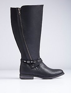 Zipper Detail Riding Boot - Medium Width