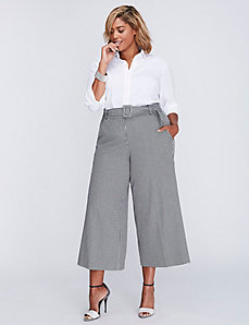 Ashley Tailored Stretch Belted Glenplaid Culotte