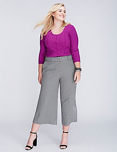 Lena Tailored Stretch Belted Glenplaid Culotte