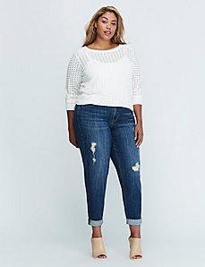 Metallic Patched Boyfriend Jean