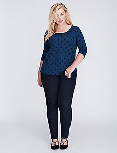 Flocked Dot Scoop-Neck Tee