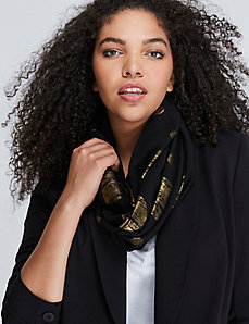 Black & Gold Dot Eternity Scarf