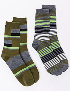 Colorblock Dark Olive Crew Socks 2-Pack