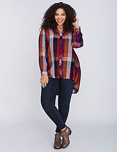 Plaid Shirt with Button Detail by Melissa McCarthy Seven7
