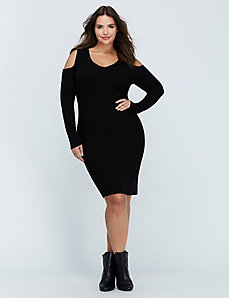 Cold-Shoulder Midi Sweater Dress