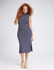 Striped Sleeveless Mock-Neck Sweater Dress