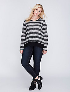 Striped Mixed Fabric Hacci Tee