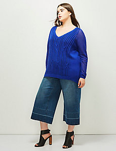 6th & Lane Pointelle Cable-Knit Sweater