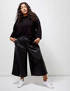 6th & Lane Faux Leather Cropped Wide Leg Pant