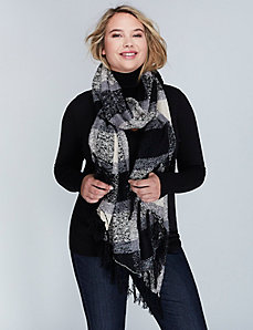 Black & White Boucle Scarf with Fringe