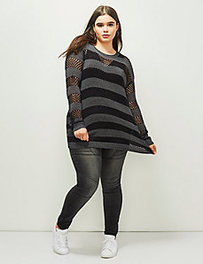 6th & Lane Pointelle Striped Sweater