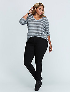 Metallic Striped Long-Sleeve V-Neck Tee