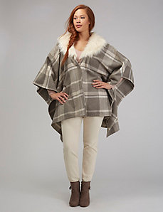 Plaid Poncho with Faux Fur Trim