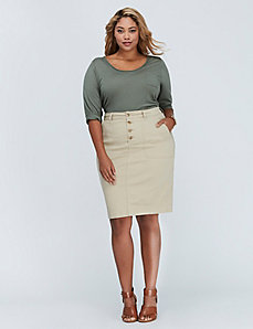 Patch Pocket Button-Front Pencil Skirt