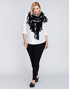 Black & Silver Triangle Scarf with Fringe