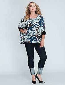 Mixed-Fabric Drama Top