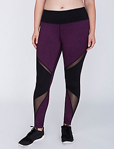 Wicking Marled Colorblock Active Legging with Mesh