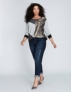 Mixed-Fabric Brocade Sweatshirt