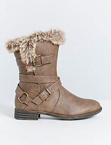 Strappy Boot with Faux Fur Trim