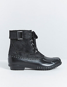 Faux Suede Lace-Up Snow Boot