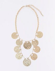 2-Tiered Disc Statement Necklace
