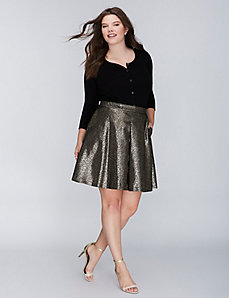 Gold Jacquard Circle Skirt
