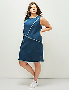 6th & Lane Frayed Denim Shift Dress