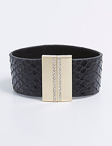 Magnetic Textured Faux Leather Bracelet with CZ