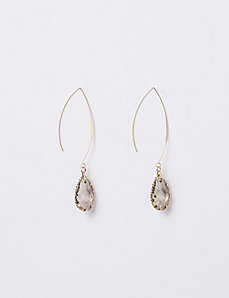 Faceted Teardrop Wire Drop Earrings