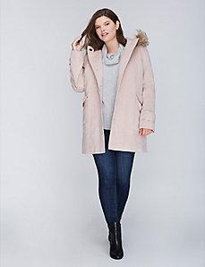 Faux Fur-Collar Wool Lady Coat