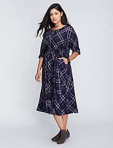 Plaid Tie-Front Shirtdress