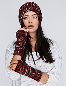 Marled Fingerless Knit Gloves