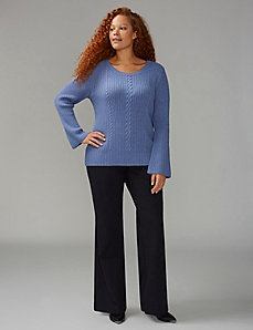 Bell Sleeve Cable-Knit Sweater