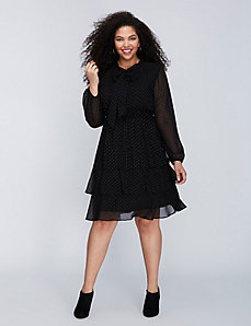 Textured Dot Tiered Dress