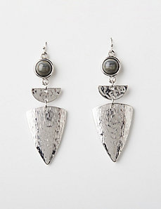 Shield Drop Earrings with Gray Stone